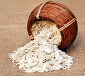 image of south east asia  - Flattened rice of South East Asia from a basket  - JPG