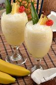 pic of pina-colada  - Pina colada cocktail drinks and tropical fruits - JPG