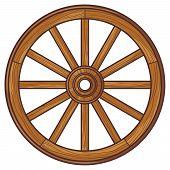 pic of wagon wheel  - old wooden wheel vector illustration on white background - JPG
