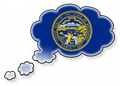 stock photo of nebraska  - Flag in the cloud isolated on white background flag of Nebraska - JPG