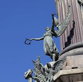 stock photo of christopher columbus  - Winged figure on the Columbus monument in Barcelona - JPG