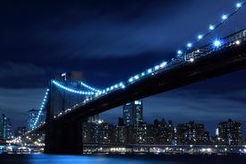 picture of brooklyn bridge  - Brooklyn Bridge and New York City skyline At Night Lights - JPG