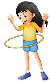 picture of hulahoop  - Illustration of a young girl playing with a hulahoop on a white background - JPG