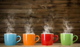 picture of steam  - cups with steaming drinkthe cups with steaming drink - JPG