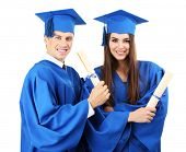 picture of graduation hat  - Graduate students wearing graduation hat and gown - JPG