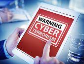 picture of terrorism  - Hands Holding Digital Tablet Cyber Terrorism - JPG