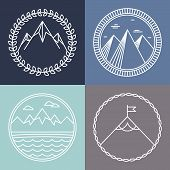 foto of outline  - Vector mountain logos and emblems in outline style  - JPG