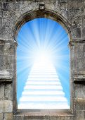 foto of gates heaven  - Gate to heaven with stairway from clouds - JPG