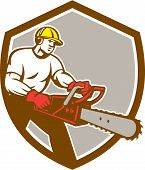 picture of arborist  - Illustration of lumberjack arborist tree surgeon holding a chainsaw set inside shield crest on isolated background done in retro style - JPG