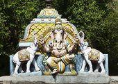 image of shiva  - Lord Ganesha flanked by two elephants - JPG