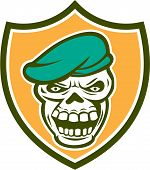 pic of beret  - Illustration of a skull wearing beret set inside shield crest on isolated background done in retro style - JPG