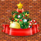 stock photo of mistletoe  - Christmas Tree with Candy Fir Branches Mistletoe and Gift in Red Ribbon on Brick Wall background vector illustration - JPG