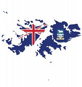 picture of falklands  - Flag of the Falkland Islands overlaid on detailed outline map isolated on white background - JPG