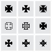 foto of maltese-cross  - Vector black choppers crosses icon set on grey background - JPG