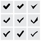 picture of confirmation  - Vector black confirm icon set on grey background - JPG
