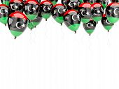 picture of libya  - Balloon frame with flag of libya isolated on white - JPG