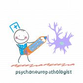 stock photo of nerve cell  - psychoneuropathologist  pencil draws the nerve cells - JPG