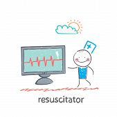 picture of resuscitation  - resuscitation is a monitor shows the heartbeat - JPG
