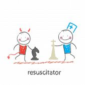 pic of resuscitation  - resuscitator plays chess with the devil - JPG