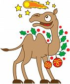 foto of comet  - Happy brown camel ornamented with evergreen holly leaves and red Christmas baubles while watching a comet - JPG