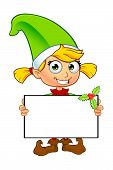 picture of elf  - A cartoon illustration of a cute girl elf character dressed in green - JPG