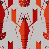 image of lobster  - Seamless abstract vector pattern with geometric lobsters - JPG