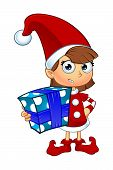 picture of elf  - A cartoon illustration of a girl elf character dressed in red - JPG