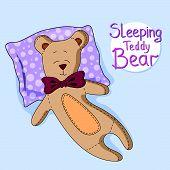 foto of sweet dreams  - Sweet Dreams Teddy Bear on blue background - JPG