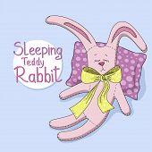image of sweet dreams  - Sweet Dreams Teddy rabbit on blue background - JPG