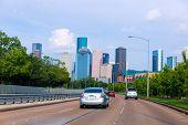 image of bayou  - Houston skyline from Buffalo Bayou Pkwy Texas US USA - JPG