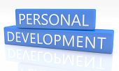pic of self assessment  - 3d render blue box with text Personal Development on it on white background with reflection - JPG