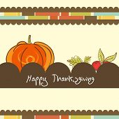 foto of happy thanksgiving  - Vintage poster design with pumpkin and stylish text on abstract background for Happy Thanksgiving Day celebration - JPG
