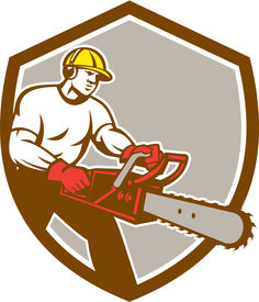 stock photo of arborist  - Illustration of lumberjack arborist tree surgeon holding a chainsaw set inside shield crest on isolated background done in retro style - JPG