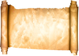 stock photo of scroll  - Medieval scroll of parchment on white background - JPG