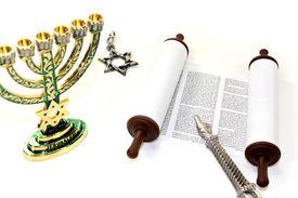 foto of torah  - Torah scroll with menorah Star of David and pointer on light background - JPG