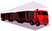 image of logging truck  - vector illustration of a logging lorry truck and trailer done in retro style - JPG