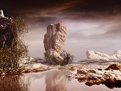picture of rocking  - 3D landscape illustration where stands a large rock in the center - JPG