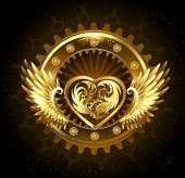 image of mechanical engineering  - mechanical heart with gears of gold and brass decorated with metal wings on a black background - JPG