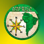 foto of south-pole  - background with text america do sul on brazilian language  - JPG