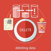 stock photo of recycled paper  - Deleting data files from folder to recycle bin - JPG
