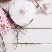pic of willow  - Easter cake pink hyacinth willow branches on white wooden background - JPG