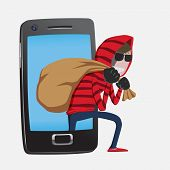 picture of spam  - Red hood Hacker step out of smart phone screen after his criminal activity crack - JPG