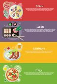Постер, плакат: Italy Japan Spain and Germany food