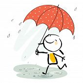 stock photo of rainy season  - Little girl with umbrella in the rain - JPG