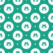 stock photo of tadpole  - Seamless pattern with frogs with crowns vector background - JPG