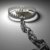foto of trap  - 3d old bear trap and money - JPG