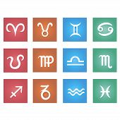 picture of pisces horoscope icon  - Zodiac sign in square frame vector Illustration - JPG