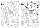 foto of maze  - Bee maze for kids with a solution in black and white - JPG