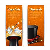image of cylinder  - Magic trick vertical banners set with magician cylinder stick and gloves isolated vector illustration - JPG