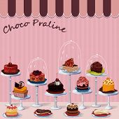 picture of cake stand  - Large group of different cakes on stands - JPG